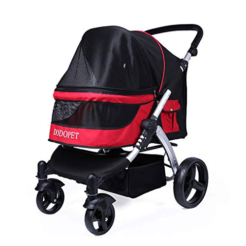 PLDDY Pet Bag Pet Rover Premium Heavy Duty Dog/Cat/Pet Stroller Travel Carriage with Convertible Compartment/Zipperless Entry/Reversible Handlebar/Pump-Free Rubber Tires (Color : A)