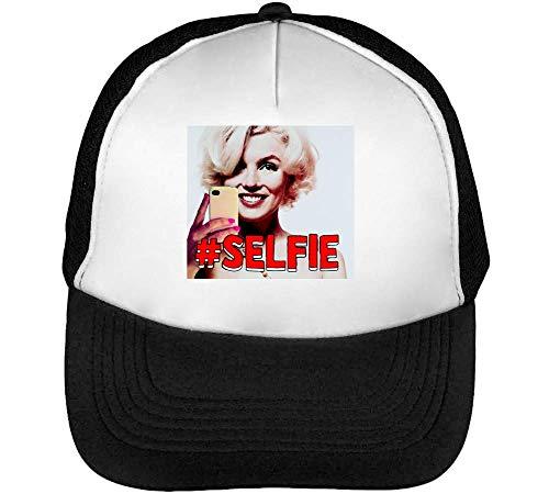 Blanco Retro Hashtag Beisbol Negro Selfie Hombre Snapback Gorras na054HHqw
