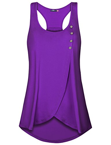 Le Vonfort Women's Sleeveless Round Neck Loose Fit Racerback Tunic Tank Top (Purple, Large) by Le Confort