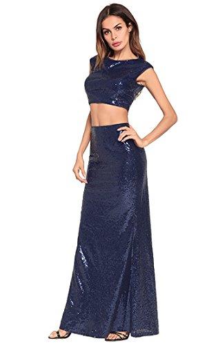 de vestido Navy mujer vestido lentejuelas fiesta noche la de de FOLOBE qgxXw10Pw