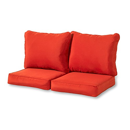 Greendale Home Fashions Deep Seat Loveseat Cushion Set in Salsa