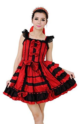 Nuoqi Court Lolita Dress Wine Red Lace Cosplay Princess Dress S Size CC220G-S (Dress Lolita)