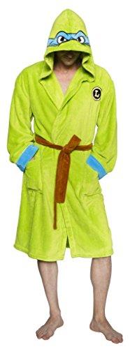 Ninja Turtles Men's TMNT Leonardo Adult Costume Robe, Green/Blue, One -