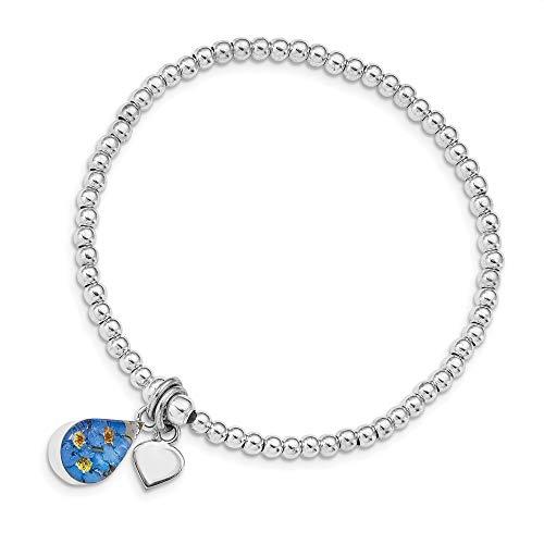 Mia Diamonds 925 Sterling Silver Shrieking Violet Real Forget Me Not Beaded Stretch Bracelet
