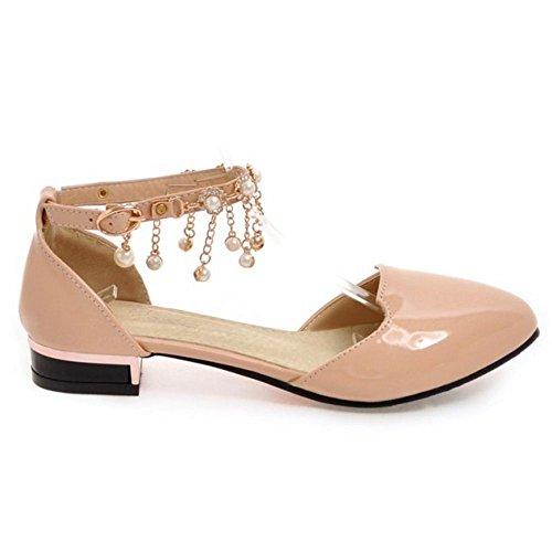 Sandales De Perles Sangle Boucle Decontracte Femme TAOFFEN Chaussures Ete Rose Cheville Plat w4HvtCUq