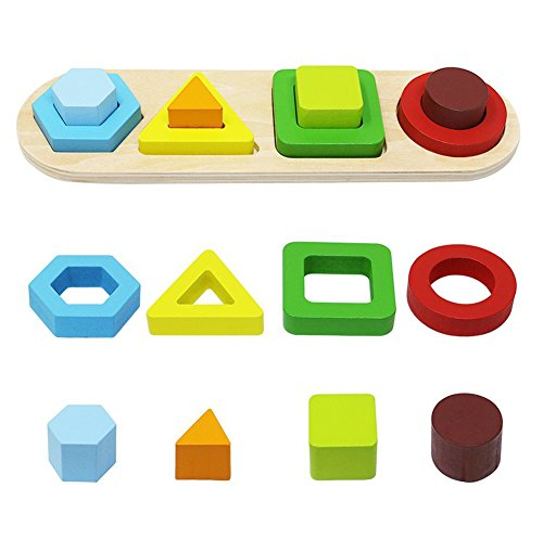 (Toyssa Wooden Educational Sorting Stacking Toy Shapes Sorter Geometric Block Stack Sort Puzzle Board Games for Kids Baby Preschool Toddler)