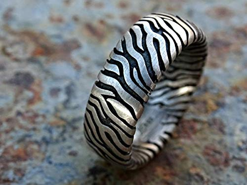 bold mens wedding ring, zebra ring silver, big silver ring patterned, unique wedding band, matching couples ring animal print ring