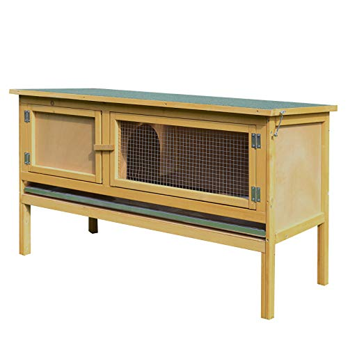 (PawHut Large Elevated Indoor Outdoor Wooden Rabbit Hutch w/Hinged Asphalt Roof)