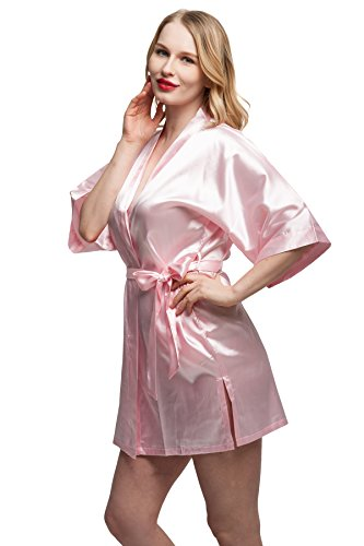 Kimono Women's Smooth Touch Short Kimono Robes for Bride and Bridesmaids Light-pink M