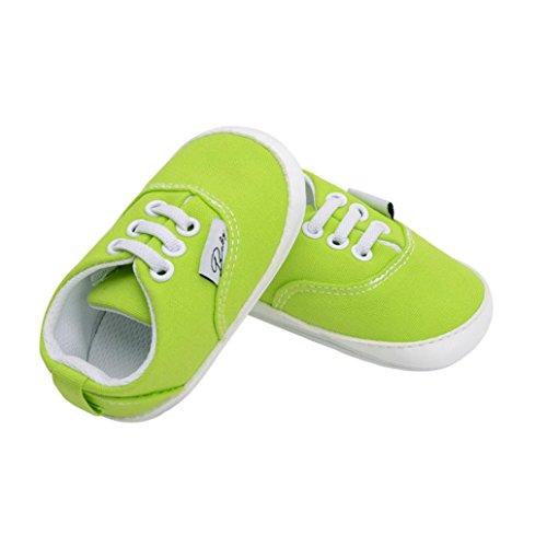 Hunpta Neugeborene Säuglingsbaby Mädchen Jungen Krippe Schuh weiche alleinige Anti-Rutsch Turnschuh Segeltuch Grün
