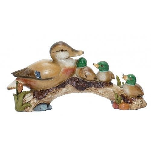Duck Family Mother Ducklings Figure Sculpture Statue Decoration, 10-inch