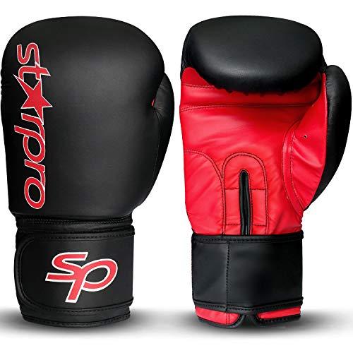 Starpro Premium Boxing Gloves, Kickboxing Bagwork Gel Sparring Training Gloves, Muay Thai Style Punching Bag Mitts, Fight Gloves for Men & Women (Black/Red, 16oz)