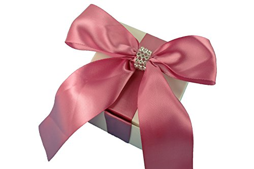 3X3X3 inch Cube Favor Gift box ( PACK OF 10 ) with Satin Bow Ribbon and Rhinestone Trim Fully Assembled (COLONIAL ROSE)