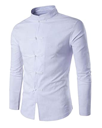 Tang Traje Hombres Tradicional Chino Ropa Trajes Hanfu Algodón Camisa De Manga Larga Abrigo Kung Fu Camisa Tops