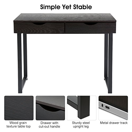 LANGRIA Modern Computer Desk Home Office Desk PC Latop Study Table Workstation Writing Desk Black Desk with 2 Drawers, Easy Assembly, 39.4'' x 21.7'' x 29.5'' Photo #8