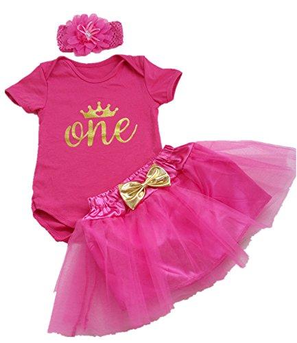 AISHIONY 3PCs Newborn Baby Girls' 1st Birthday Tutu Onesie Skirt Dress Outfit L Rose (1st Birthday Outfit)