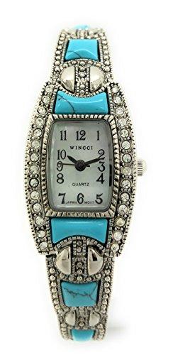 Ladies Square Stones Metal Link Bracelet Fashion Watch Pearl Dial Wincci (silver turquoise)