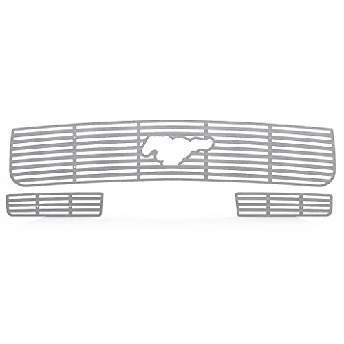 Brushed Stainless Horizontal Billet Grille Grill Insert Trim fits: 2005-2009 Ford Mustang - Ferreus Industries - TRK-121-01brushed
