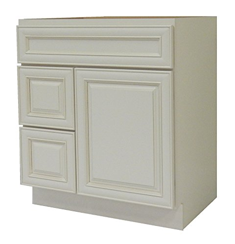 NGY Antique White Vanity Cabinet Maple Wood AW-3021DL, 30