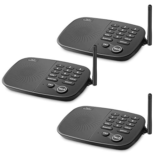 Wireless Intercom System Hosmart 1/2 Mile Long Range 10-Channel Security Wireless Intercom System for Home or Office[3 Units Black]
