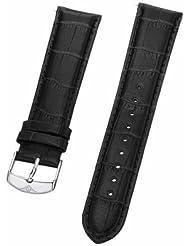 Stuhrling Original mens 22mm black leather Strap with steel buckle st.730.01