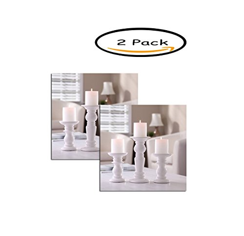 Price comparison product image PACK OF 2 - Better Homes and Gardens Ceramic Pillar Candle Holders,  Set of 3