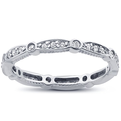 White Gold Eternity Prong (3/8ct Vintage Diamond Eternity Stackable Ring 14K White Gold)