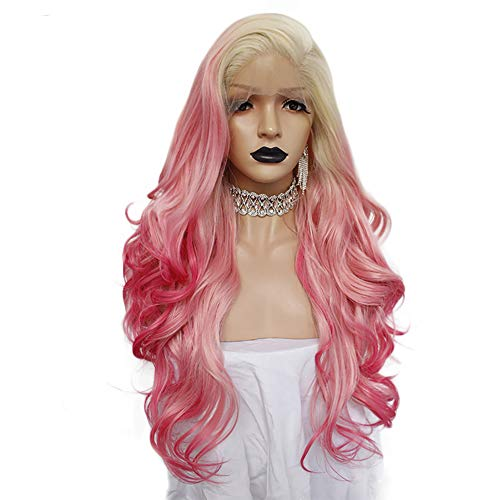Anogol Hair Cap + Pink Lace Front Wig with Side Part Pink Ombre Lace Wig Body Wave Lace Front Wigs Long Multicolor Front Lace Wigs Pink Synthetic Hair Wigs for White Women ()