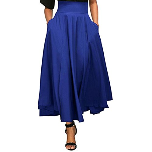 Pocciol 2018 Newly Everyone Love Skirt,Newly Pleated Long Skirt Front Slit Belted High Waist Maxi Ankle-Length Skirt (Blue, M)