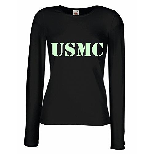 N4446M Female long sleeves T-shirt USMC (Small Black Fluorescent) (Homeland Security Uniform)