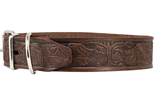 Dogs My Love Genuine Tooled Leather Dog Collar Hunting Pattern Brown 3 Sizes (Neck Circumf: 13