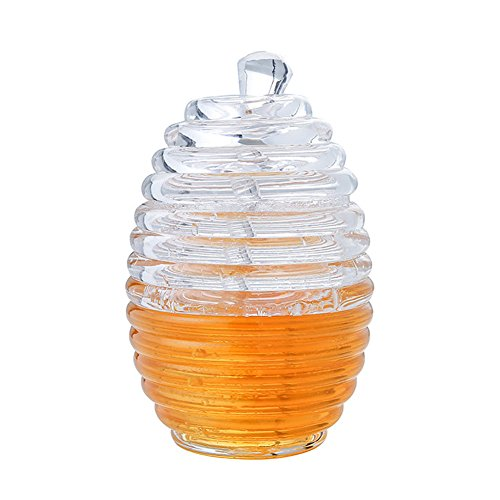 Honey Jar, Dsar Clear Beehive Crystal Honey Pot with Dipper and Lid, 9 OZ