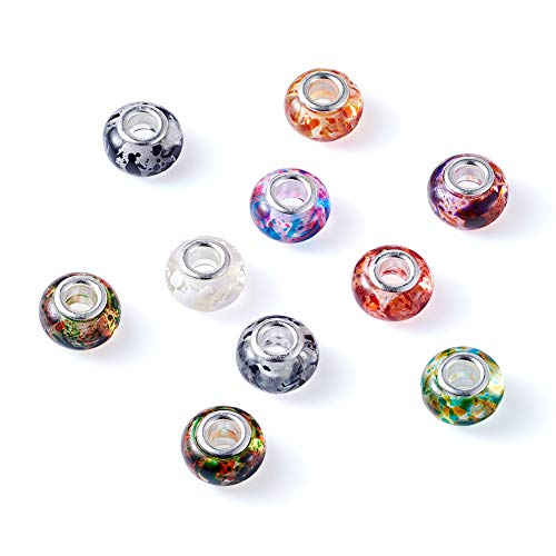 Pandahall 10pcs Resin European Beads Large Hole Rondelle Slide Charms Spacer with Silver Tone Brass Cores Mixed Color 14x9mm for Jewelry Making ()