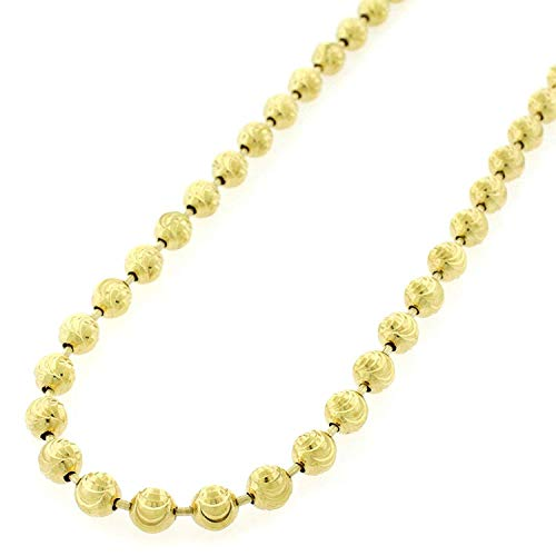 (Sterling Silver Italian 5mm Ball Bead Moon Cut Solid 925 Yellow Gold Plated Necklace Chain 24