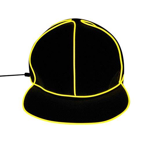 FEDULK Unisex Light Up Baseball Cap Summer Neon Nightlife Lights Hat Party Dress Hat Baseball(Yellow)