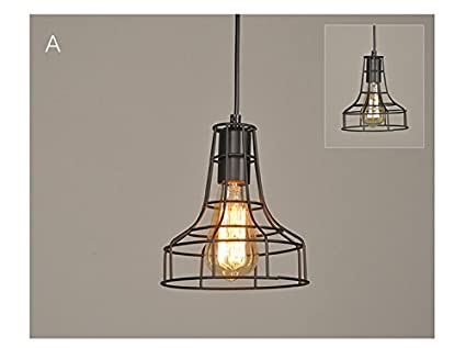 Suspension Luminaire Vintage Simple Industrielle En Metal Noir Cage