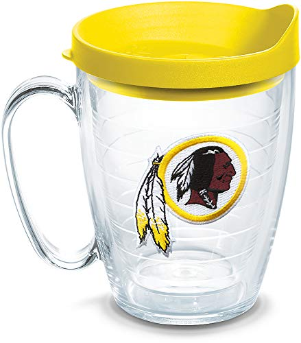 Nfc Football League - Tervis 1062499 NFL Washington Redskins Primary Logo Tumbler with Emblem and Yellow Lid 16oz Mug, Clear