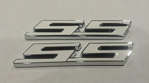 Muzzys (SET OF TWO) WHITE SS Chrome Super Sport Emblem Badge 3M Universal Stick On Sticker Trunk Fender Bumper Grill Grille