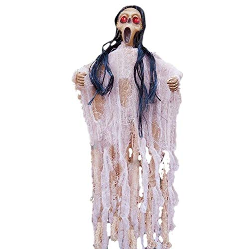 Party DIY Decorations - 1 Piece Halloween Party Decorations Haunted House Props Horror Eye Glow Hanging Ghosts Terrible Voice Control Bar Decor Ghosts (White)]()