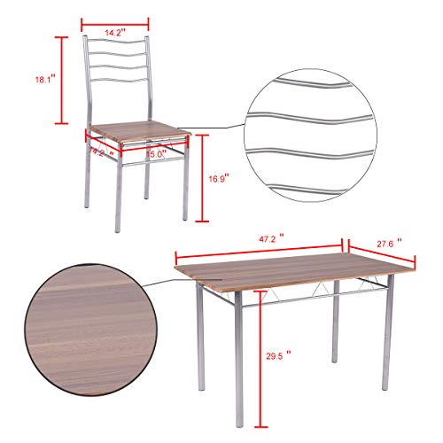 Giantex Modern 5 Piece Dining Table Set with 4 Chairs Metal Frame Wood Like Kitchen Furniture Rectangular Table & Chair Sets for Dining Room (Shallow Walnut) by Giantex (Image #4)