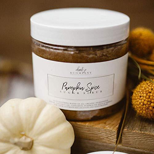 Pumpkin Spice Sugar Scrub (16oz) An All Natural Exfoliating Body Scrub & Face Scrub for Acne, Cellulite & Stretch Marks
