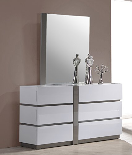Milan Valencia Gloss White & Grey Bedroom Accent Mirror by Milan
