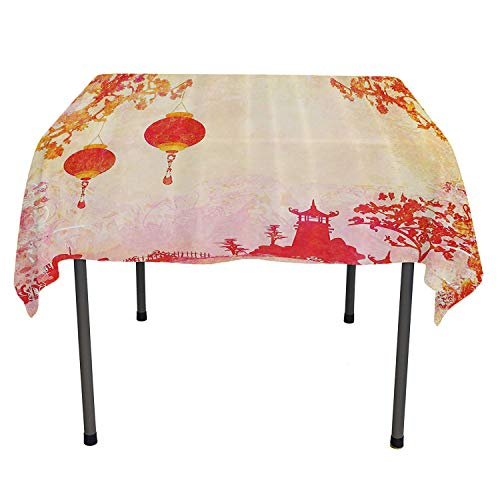Lantern Decor Dinning Tabletop Decoration Asian Landscape with Lanterns and Pagoda Temple Spirituality Meditation Habitat Image Orange Red Pattern Tablecloth Spring/Summer/Party/Picnic 54 by 54