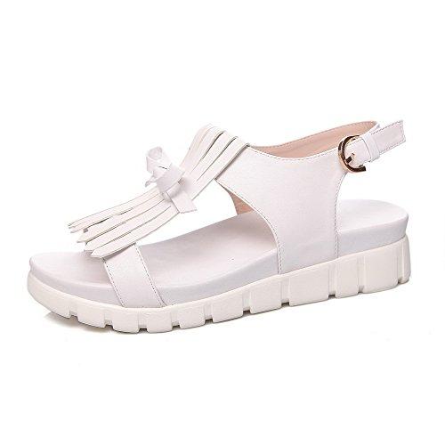 AllhqFashion Women's Open Toe Low Heels Solid Buckle Sandals White ipiRAaD