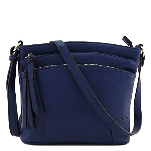Triple Medium Zipper Crossbody Pocket Bag Navy zzvrCwqR