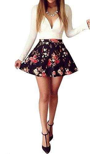 White Cotton Bold Floral Skirt - 2