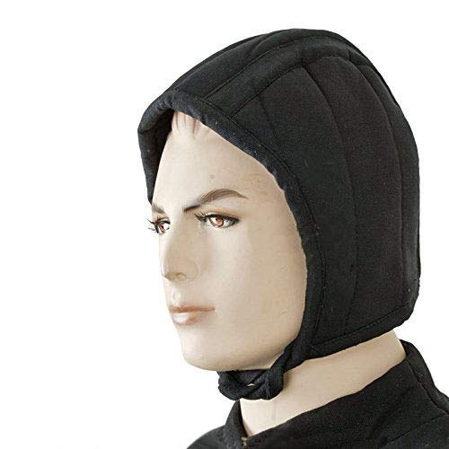 (Black Medieval Renaissance Cotton Padded Arming Cap for Helmet Chainmail)