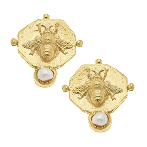 Gold San Coins Antonio (Susan Shaw Bee and Pearl Intaglio Earrings)