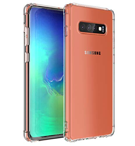 MKOAWA Clear Protective Heavy Duty Cover with Air Cushion Design Soft TPU Bumper Case for Samsung Galaxy S10 6.1 Inch - Crystal Clear ()