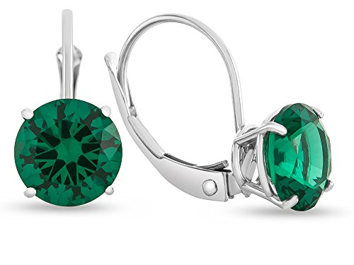 Finejewelers 7x7mm Round Simulated Emerald Lever-back Earrings 14 kt White Gold by Finejewelers